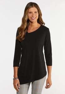 Plus Size Solid Asymmetrical Hem Tunic