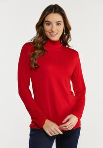 Plus Size Solid Scrunch Turtleneck