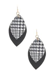 Faux Leather Houndstooth Earrings