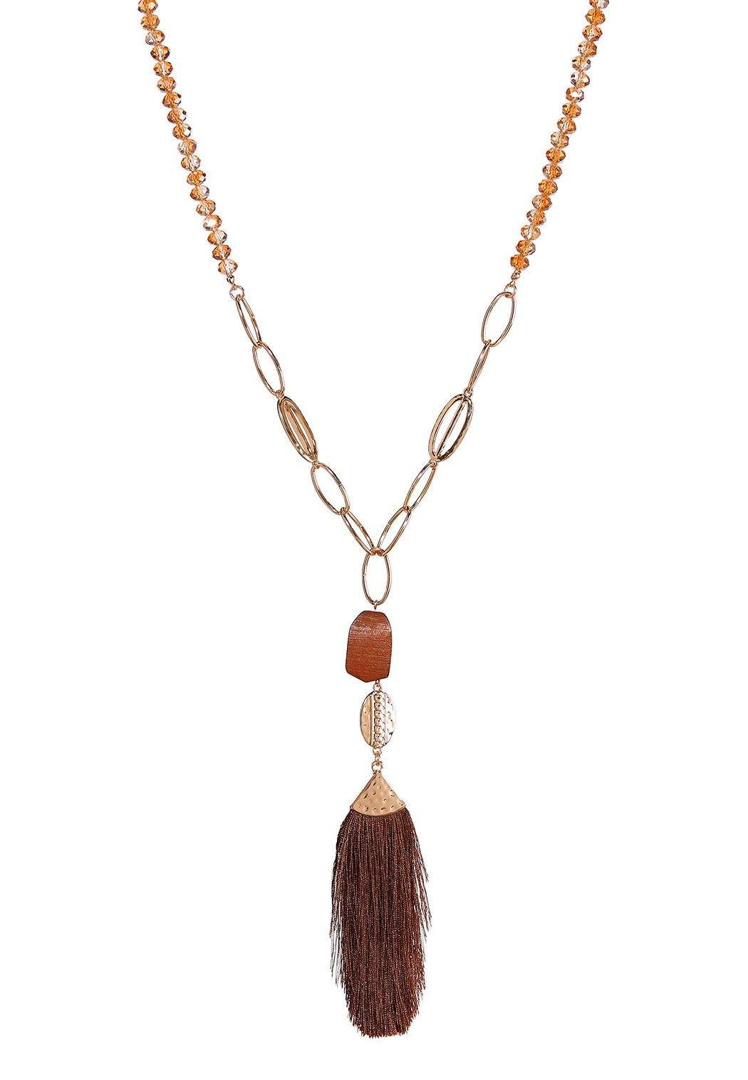 Tasseled Rondelle Bead Necklace