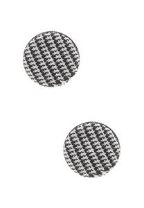 Houndstooth Fabric Button Earrings