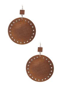 Wood Rhinestone Disk Earrings