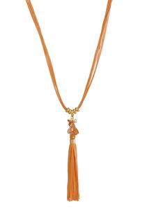Suede Tassel Cord Necklace