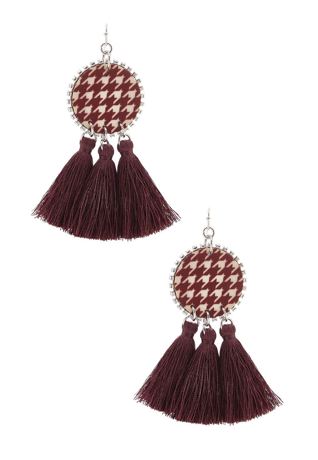 Tasseled Houndstooth Earrings