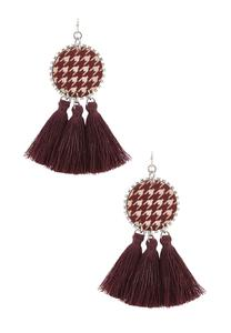 Tasseled Houndstooth Earrings