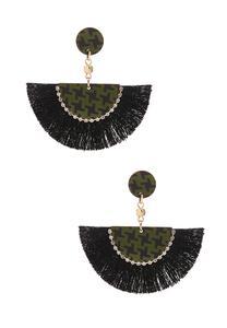 Houndstooth Fan Earrings