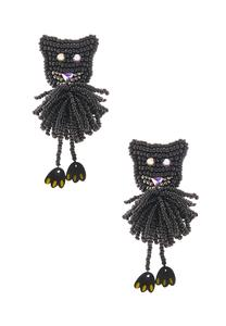 Seed Bead Cat Earrings