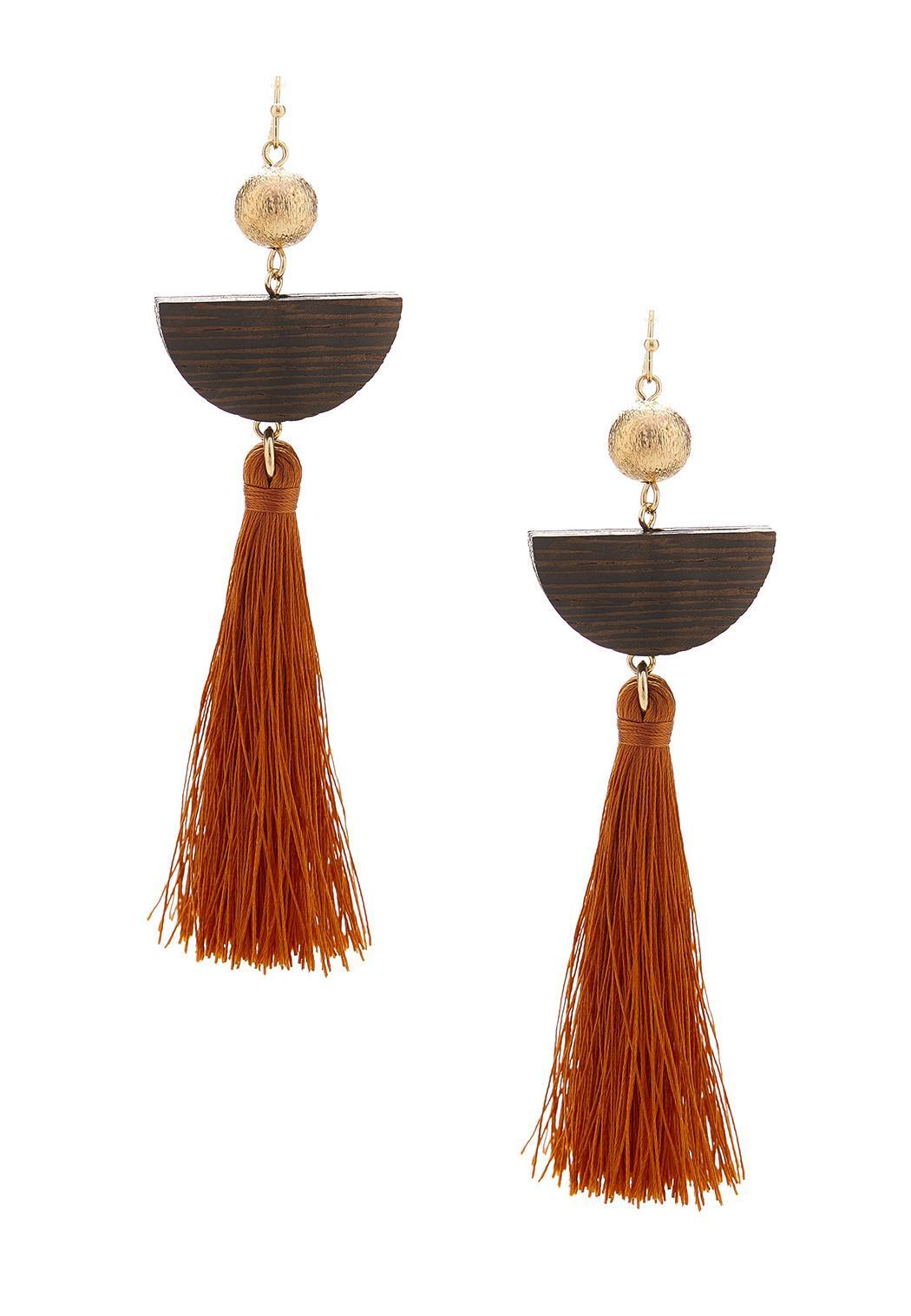 Wood Crescent Tassel Earrings