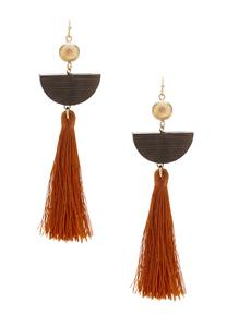 Wood Crescent Tassel Earrings