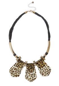 Leopard Lucite Cord Necklace
