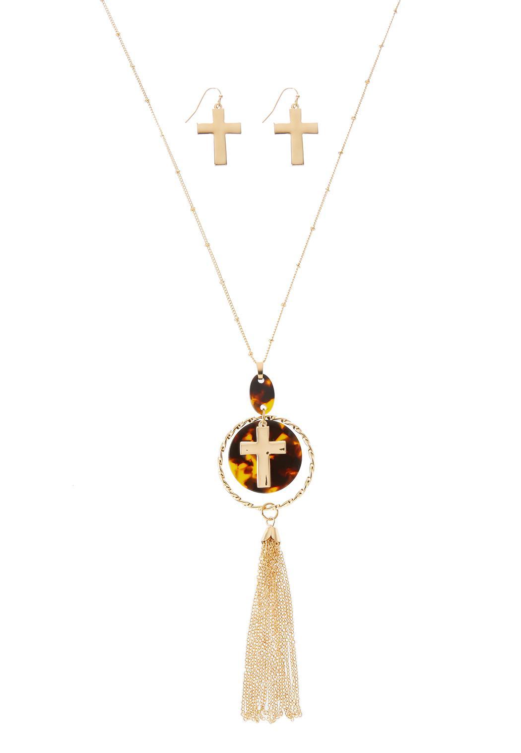 Tasseled Cross Necklace Earring Set