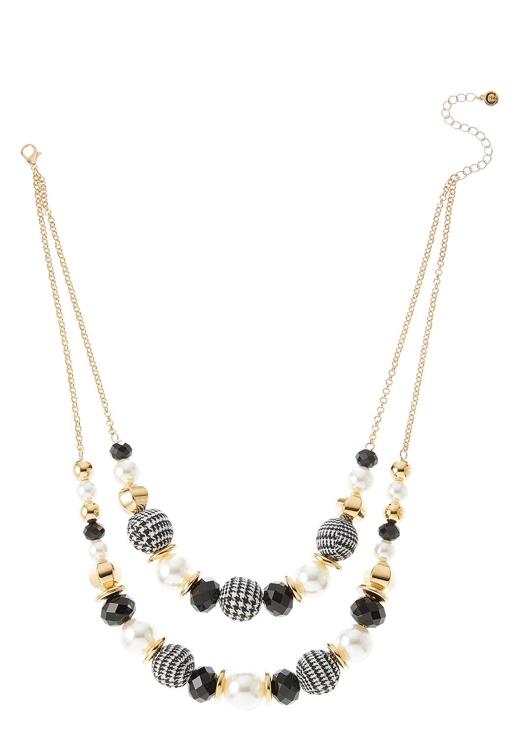 Layered Plaid Bead Necklace