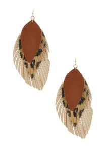Leopard Faux Tassel Earrings