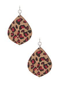 Wood Leopard Print Earrings