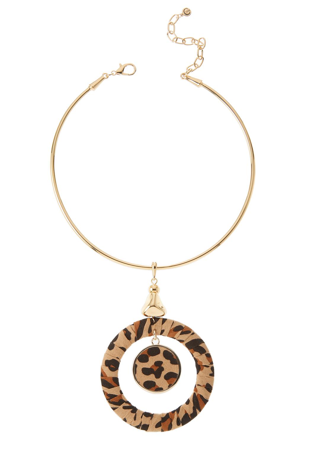 Leopard Fabric Pendant Wire Necklace