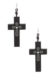 Wooden Cross Earrings