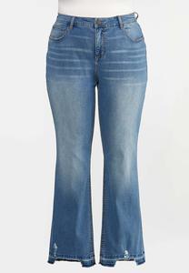 Plus Size Flare Raw Hem Jeans