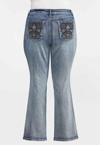 Plus Size Fleur Di Lis Pocket Jeans