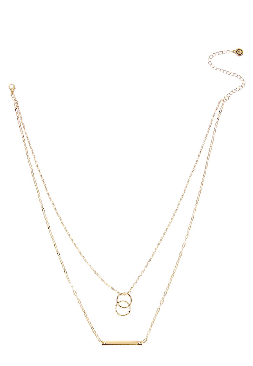 Layered Bar And Ring Necklace