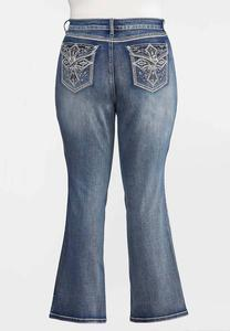 Plus Size Rhinestone Cross Pocket Jeans