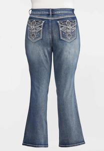 Plus Petite Rhinestone Cross Pocket Jeans
