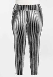 Plus Size Slim Houndstooth Pants