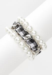 Plaid Pearl Bracelet Set