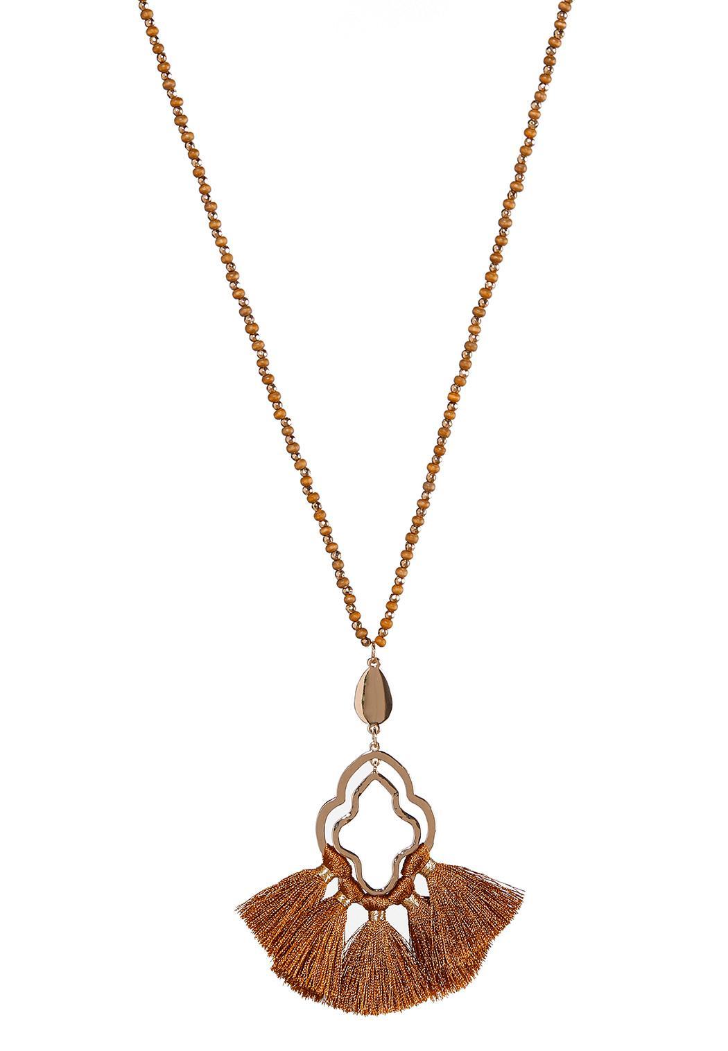 Wood Bead Fan Tassel Necklace