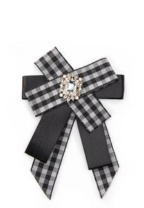 Gingham Bow Brooch