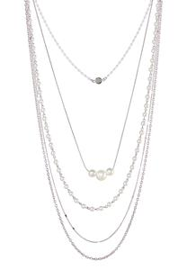 Layered Chain Pearl Necklace
