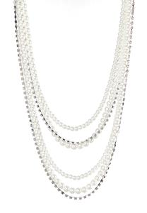 Layered Rhinestone Pearl Necklace