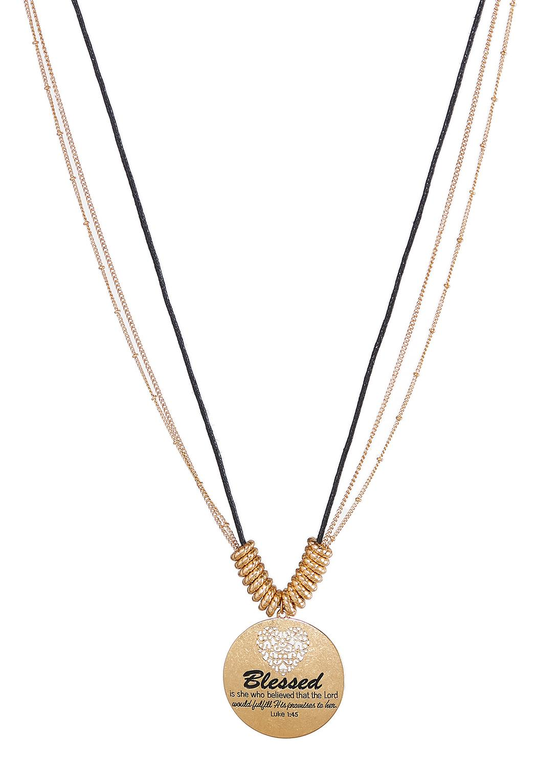 Inspirational Engraved Disc Pendant Necklace