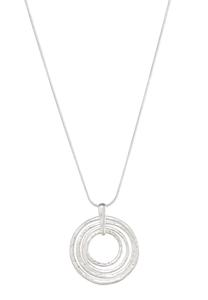 Silver Multi Ring Pendant Necklace