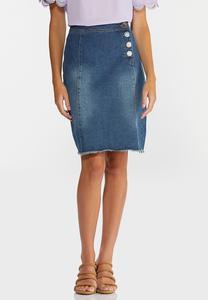 Boucle Button Denim Skirt