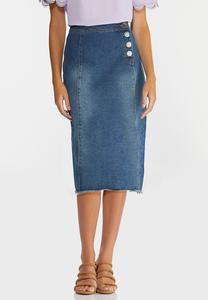 Plus Size Boucle Button Denim Skirt