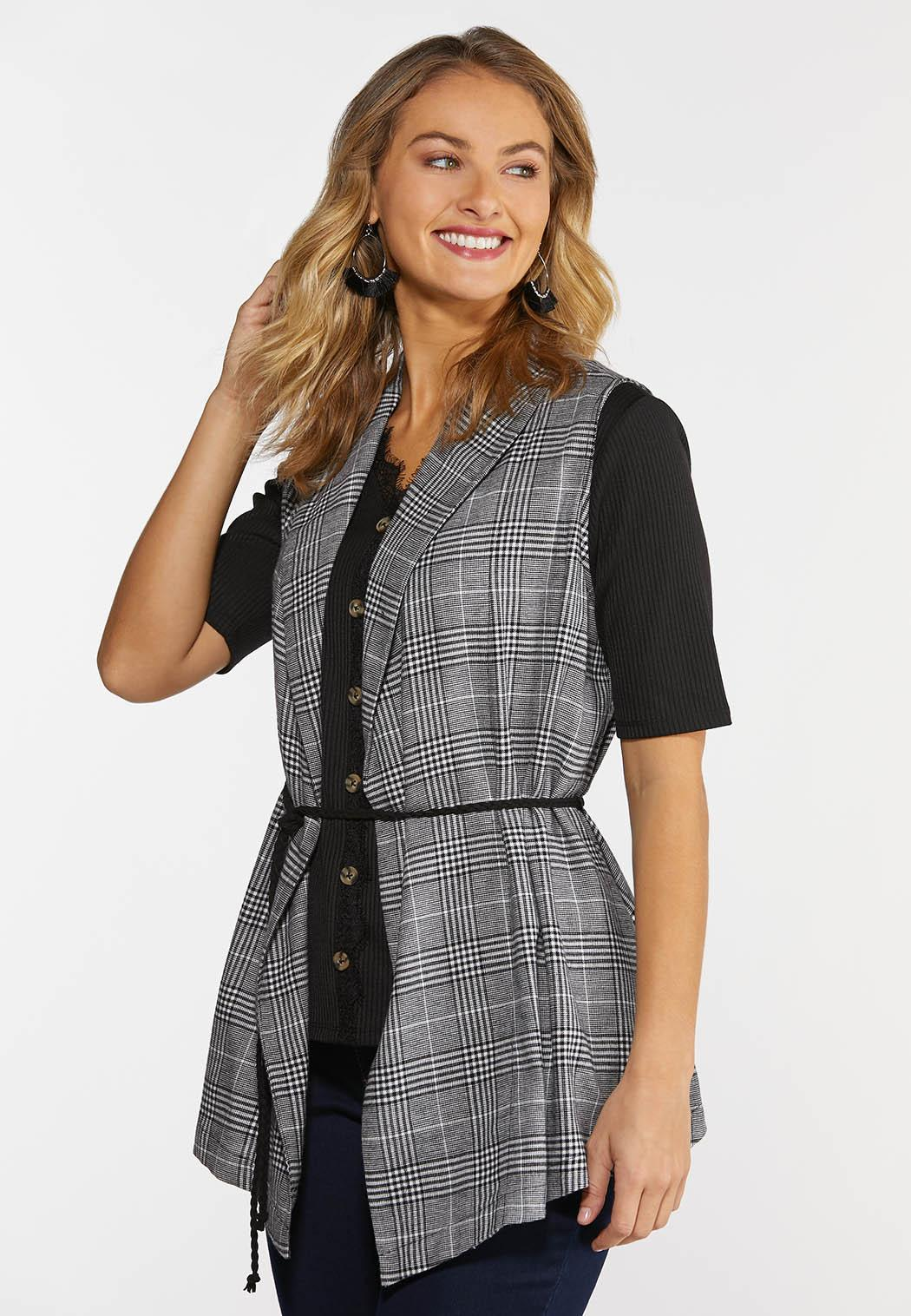 Plus Size Black And White Plaid Vest
