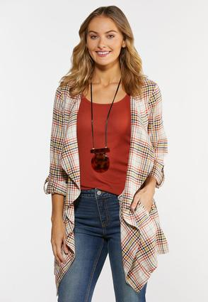 Plus Size Draped Sunset Plaid Jacket