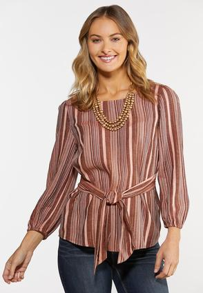 Plus Size Belted Stripe Top