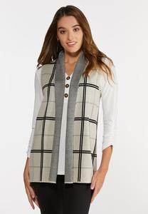Plus Size Plaid Sweater Vest