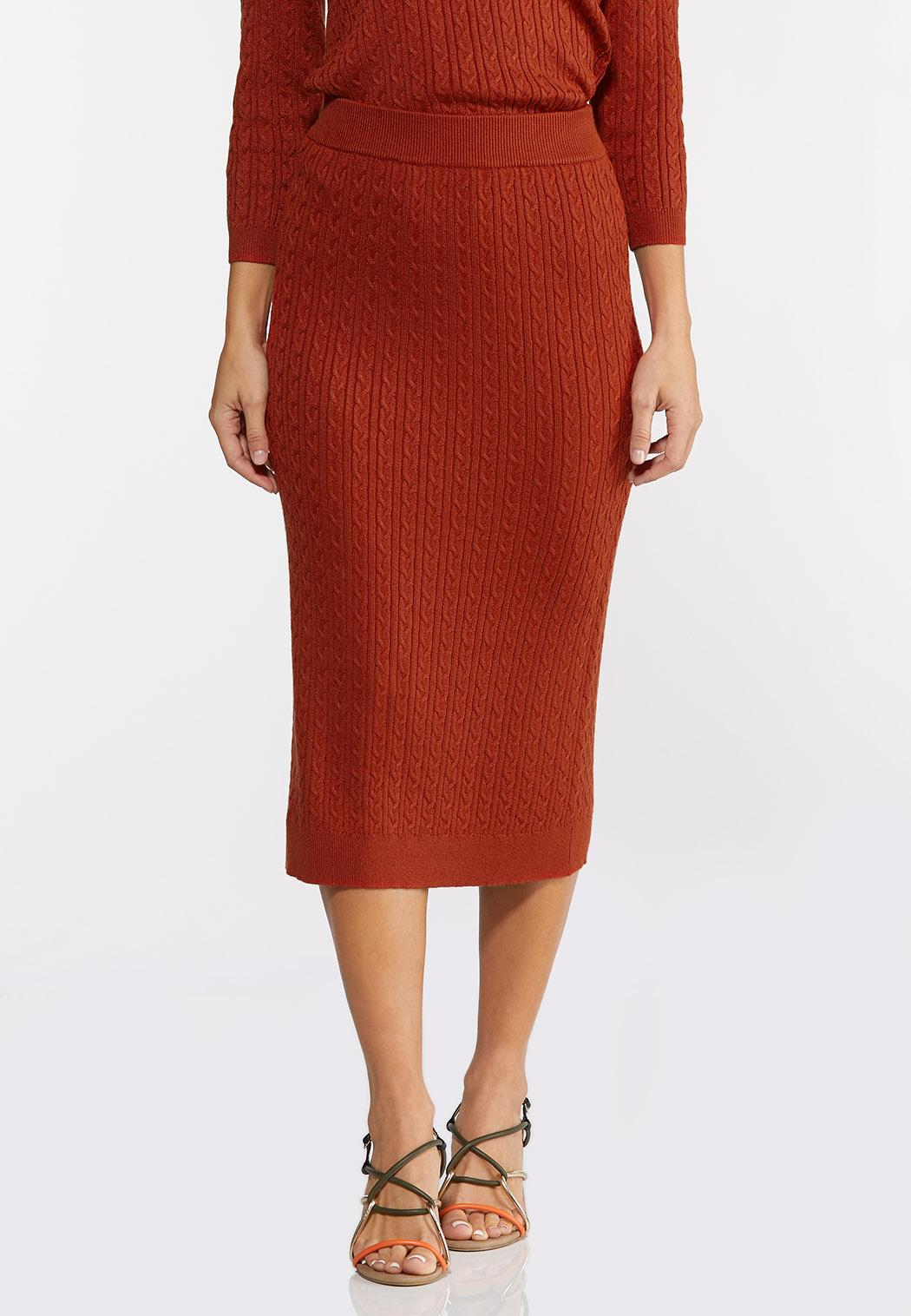 Orange Cable Knit Skirt