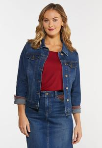 Plus Size Plaid Denim Jacket