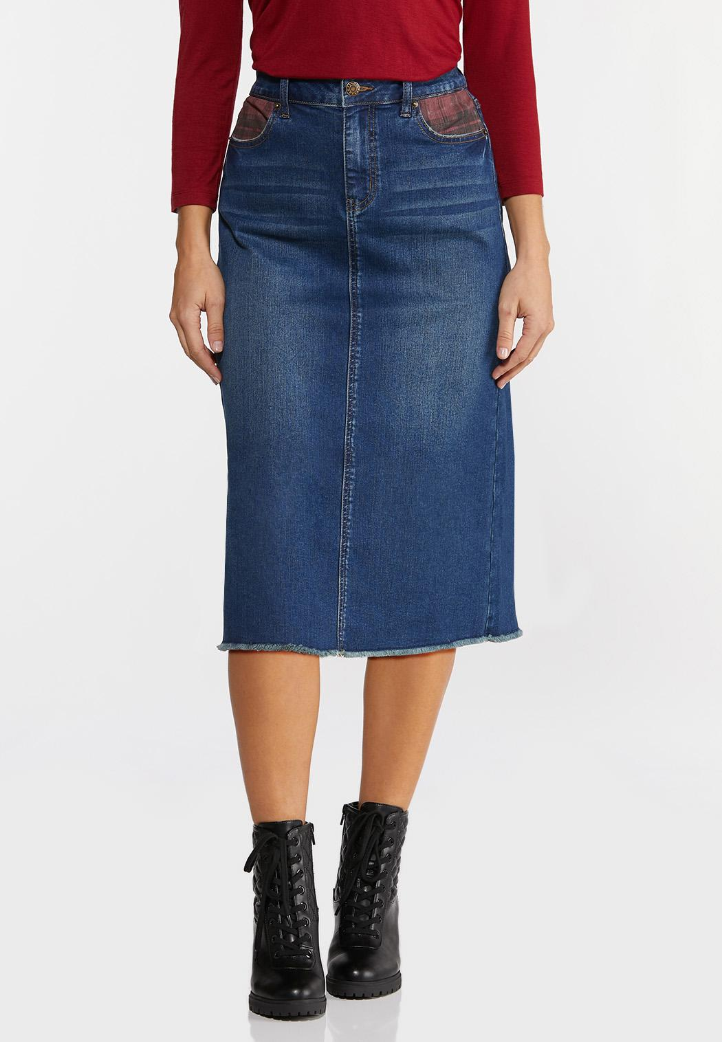 Plus Size Plaid Pocket Denim Skirt