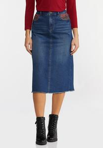 Plus Size Plaid Pocket Denim Skirt