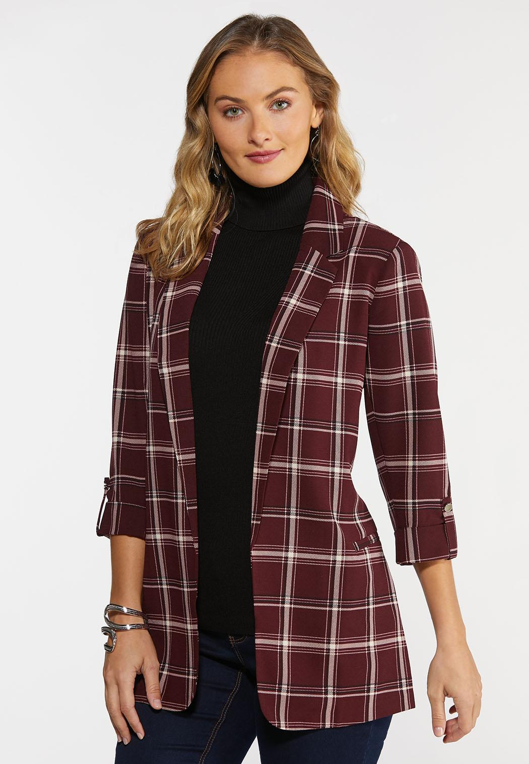 Wine Plaid Blazer