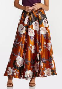 Plus Size Floral Satin Maxi Skirt
