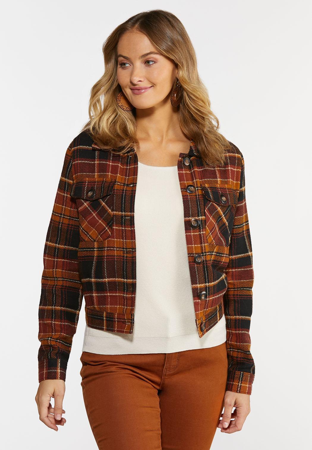 Plus Size Autumn Plaid Jacket