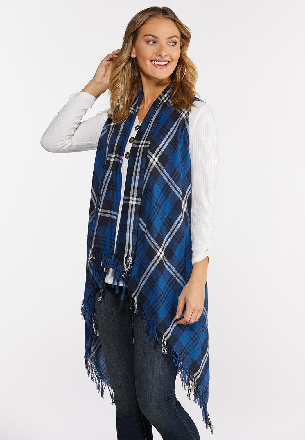 Plus Size Draped Plaid Vest