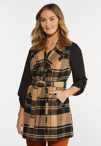 Plus Size Plaid Fringe Trim Vest
