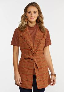 Plus Size Belted Plaid Vest