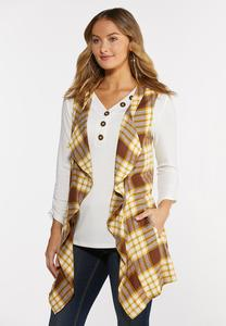 Cato Woman Honey Plaid Vest